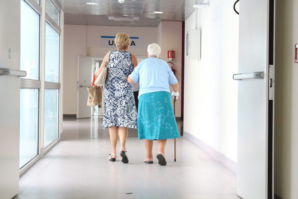 elderly patients walking in hospital