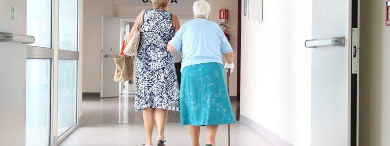 elderly patients walking in hospital